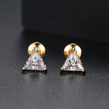 New Arrival Fashion Jewelry Triangle Stud Earring Gold Color AAA Cubic Zirconia Rhinestone Earrings for Women new arrival fashion jewelry triangle stud earring gold color aaa cubic zirconia rhinestone earrings for women