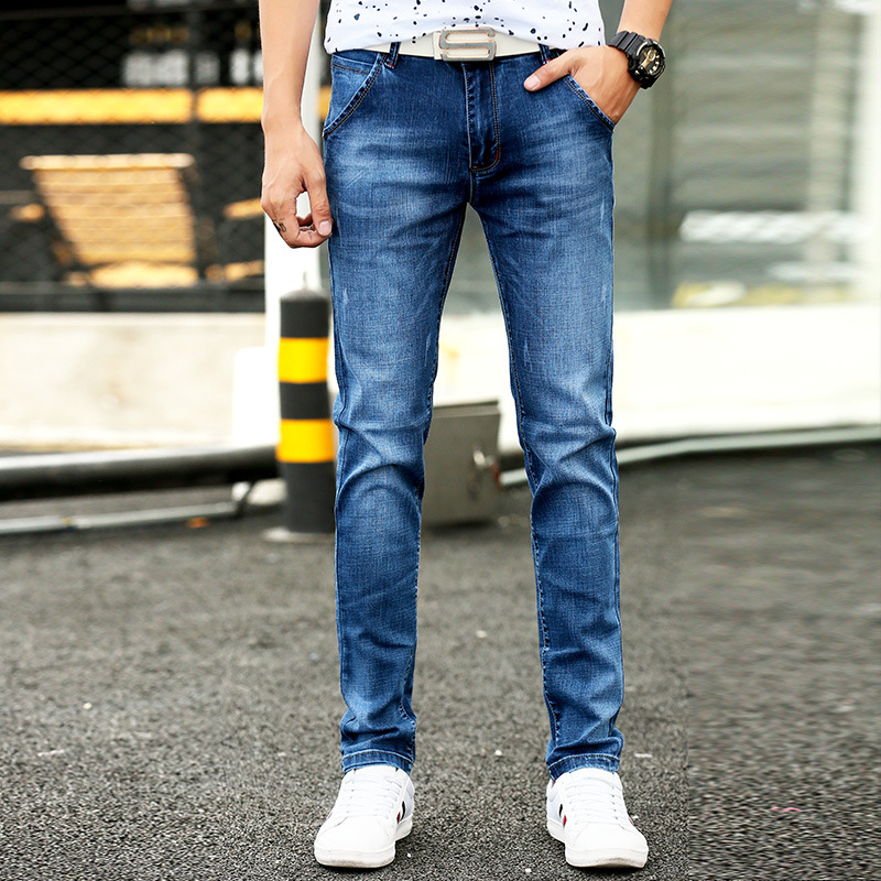 2019 Autumn New Style Men's Korean-style Straight-Cut Jeans Faded Youth Students' Pants Micro Elastic Medium Waist Men's Trouser
