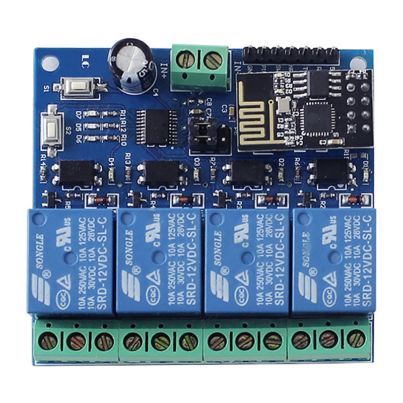 ESP8266 DC 12V 4 Channel Relay Board ESP-01 WIFI Module for Smart Home 4 Channel WIFI Relay Module