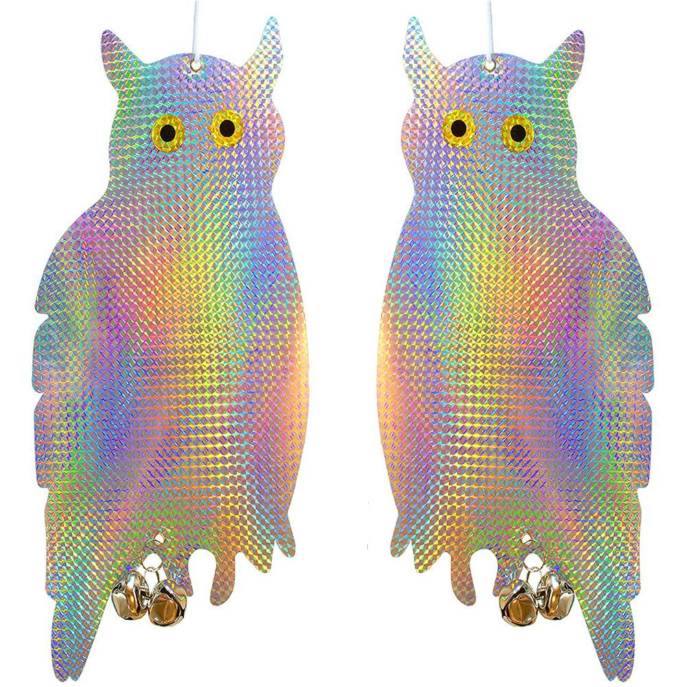 2pcs Reflective Owl Decoration Anti Mosquito Laser Reflection Bird Defence Owl Predator Fake Owl Bird Equipment Garden Decor