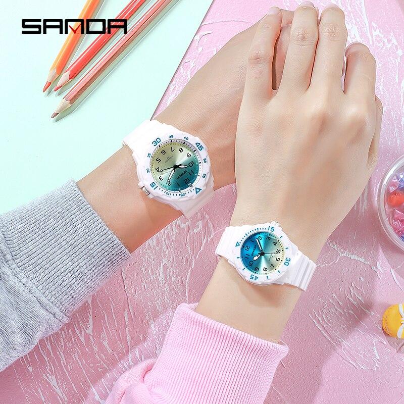 Montre à Quartz pour les amoureux de la mode, accessoire de luxe, mains lumineuses, étanche 50M, marque supérieure SANDA pour Couple 6
