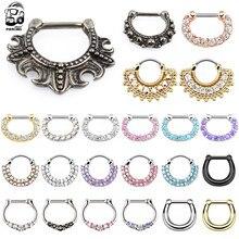 Piercing de septo dourado 16g, de aço nariz, cristal real, anéis de septo, clickers, feminino, piercing daith, túnica, hélixe, joias do corpo oreja