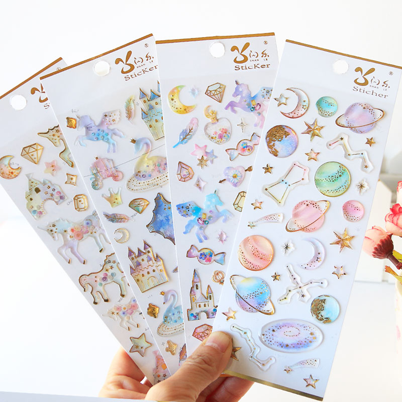3D Pegasus Unicorn Castle Label Stickers Craft Cute Kawaii Stickers Scrapbooking DIY Diary Album Stick Label Stationery