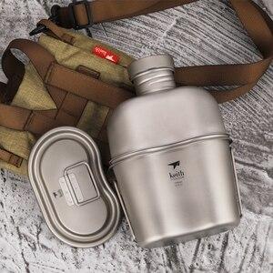 Image 2 - 1800 ミリリットルチタンカップポットディナーセット超軽量屋外食器キット旅行キャンプマーチングポット水ケトルディナーボックス調理器具