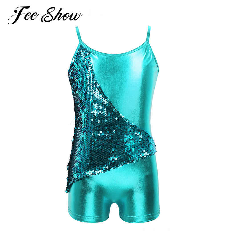FEESHOW Kids Girls Team Basic Cotton Long Sleeve Ballet Dance Leotard Gymnastic Bodysuit Dancewear