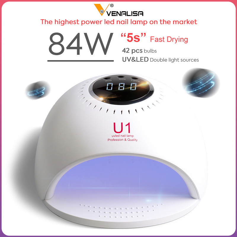 Best DealÜNail-Lamp Venalisa Nail-Polish-Drying LED UV 84W for 60s/120s Soak-Off Fast-Dry
