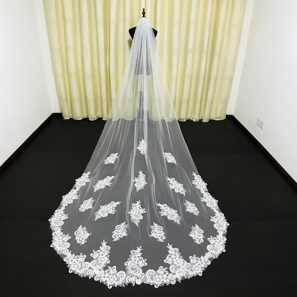 Real Photos Elegant Cathedral Long Tulle Lace Applique Wedding Veils Bridal Veils Matching The Wedding Dresses