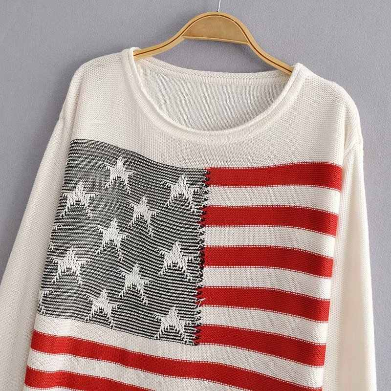 Woah 2019 JJ38-9848 European and American fashion striped printed Pullover Sweater
