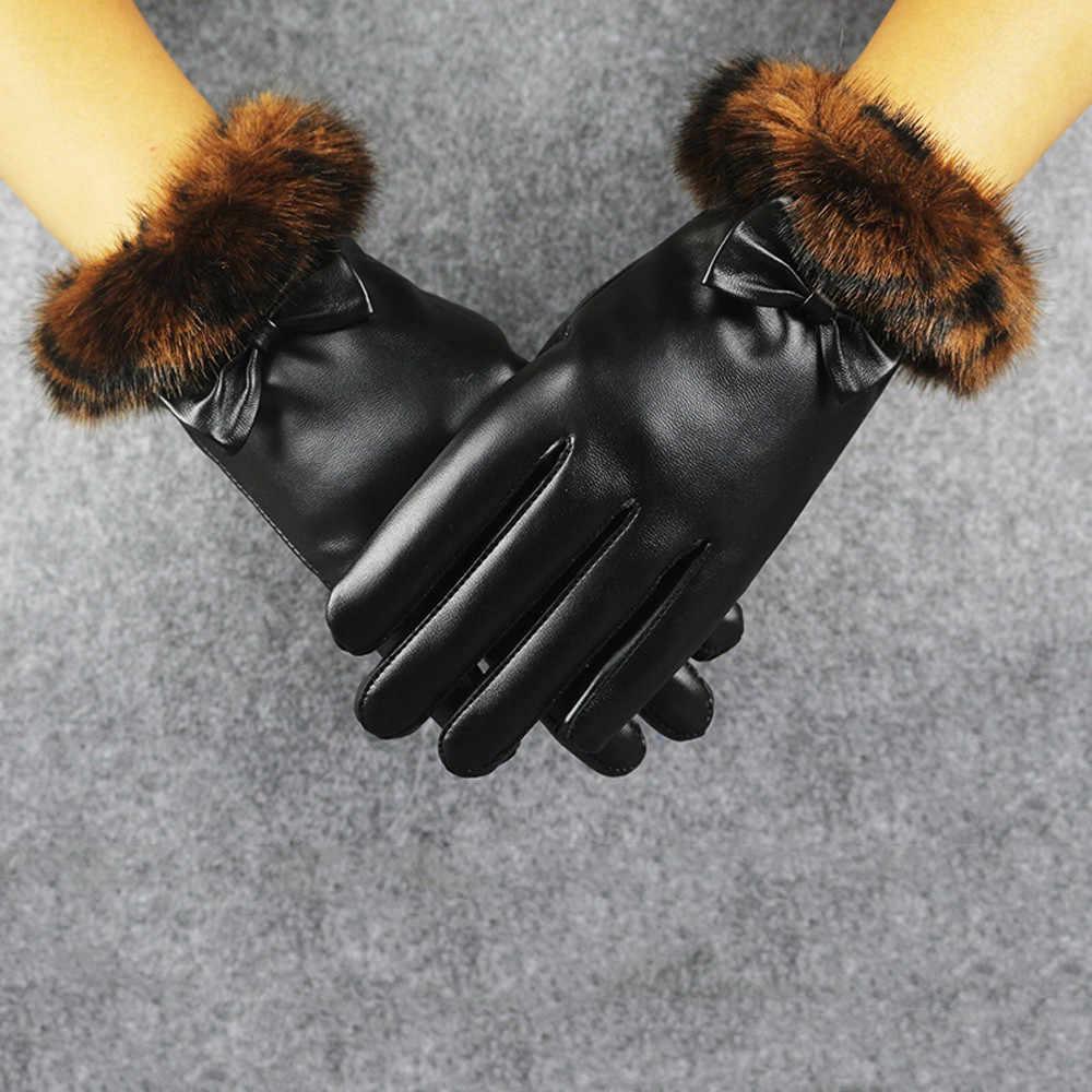 2019 الأزياء الأزياء لمس إمرأة الشتاء في الهواء الطلق الرياضة الدافئة النساء السود جلدية قفازات الخريف الشتاء الدافئة القفازات