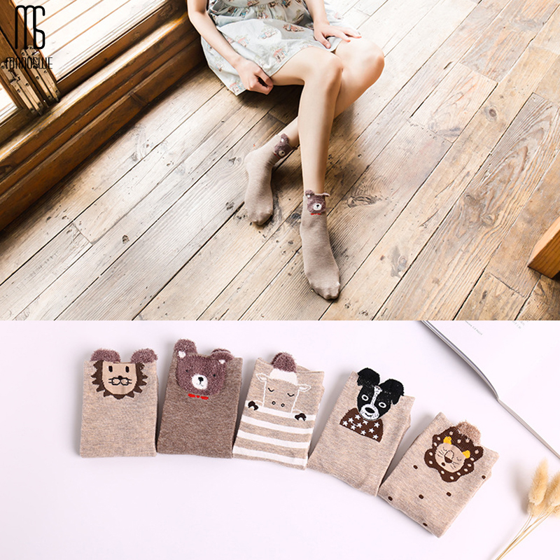 Manoswe 5Pair Animal Cartoon Jacquard Christmas Sock Woman Winter Warm Cotton Cat Dog Socks Casual Cute Sock Female New Year