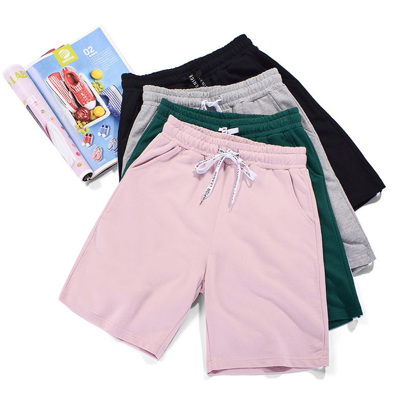 Summer Women Cotton Sports Shorts Elastic High Waist Drawstring Straight Loose Sweat Shorts Pockets Jogger Running Short Pants