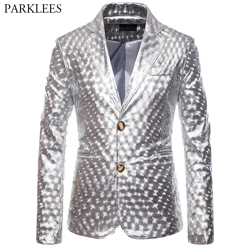 Silver Glossy Men Blazer Shiny Two Button Mens Suit Jacket Blazers Wedding Singer Stage Nightclub Dj Party Men Blazers Masculino