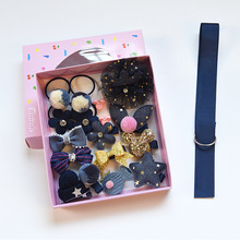 Cute Korean Style Childrens Headwear Set Girl Rubber Band Hair Clip Ribbon Sell as Box Headset Gift Dressing Toy