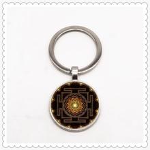 Sacred Sri Lankan pattern keychain convex round pendant classic fashion men and women keychain gift jewelry