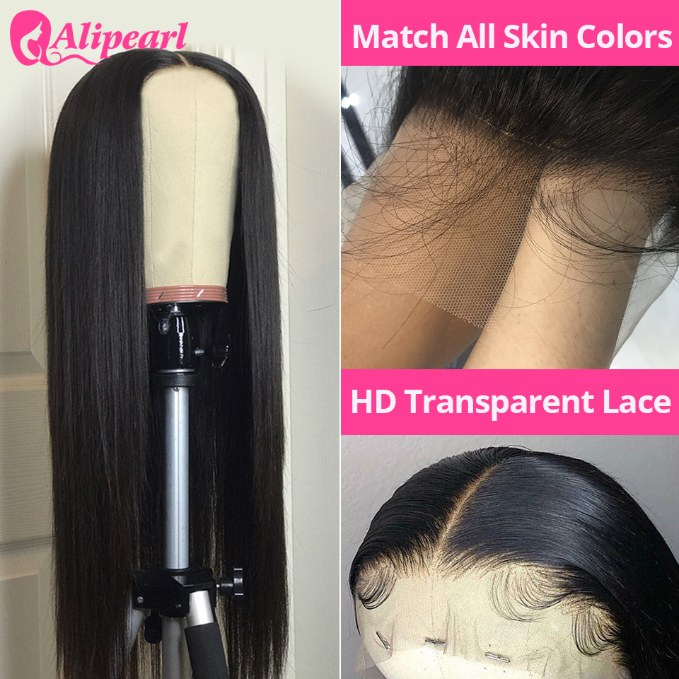 AliPearl HD Transparent Lace Wigs Pre Plucked Brazilian Straight Lace Front Human Hair Wigs For Black Women Remy 180% Density