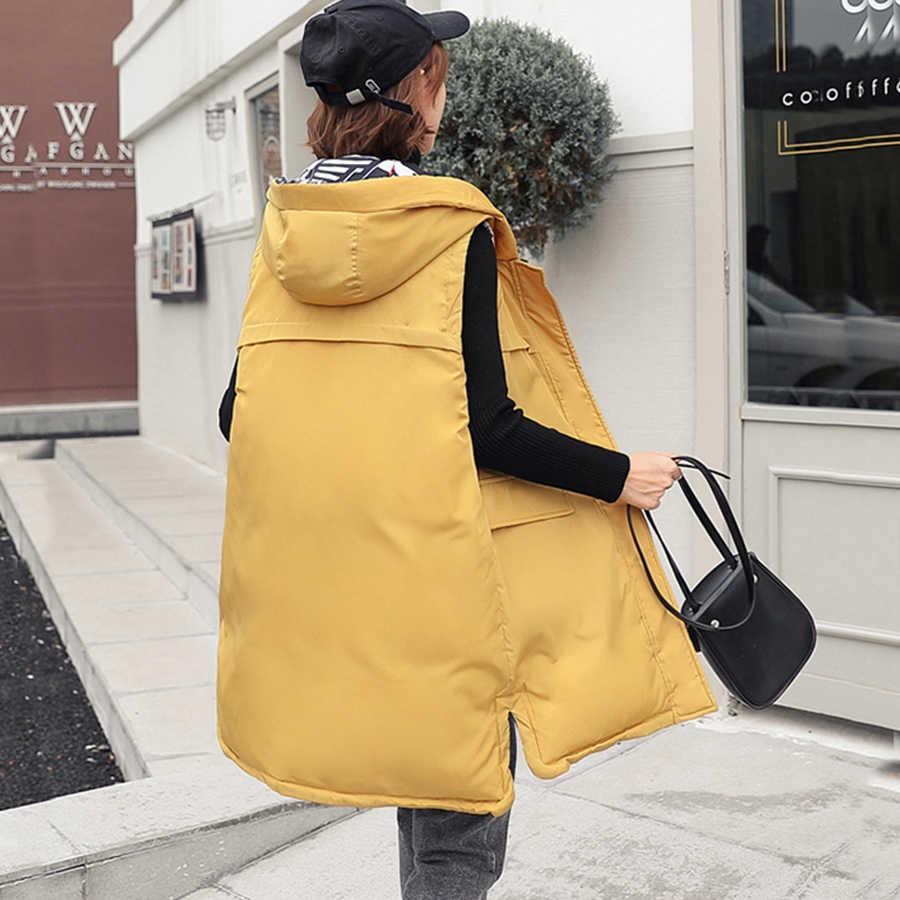 Dorywczo z kapturem dwustronna kamizelka damska zimowa Retro bez rękawów bawełniana kurtka damska Plus rozmiar koreański kamizelka z nadrukiem Fashion