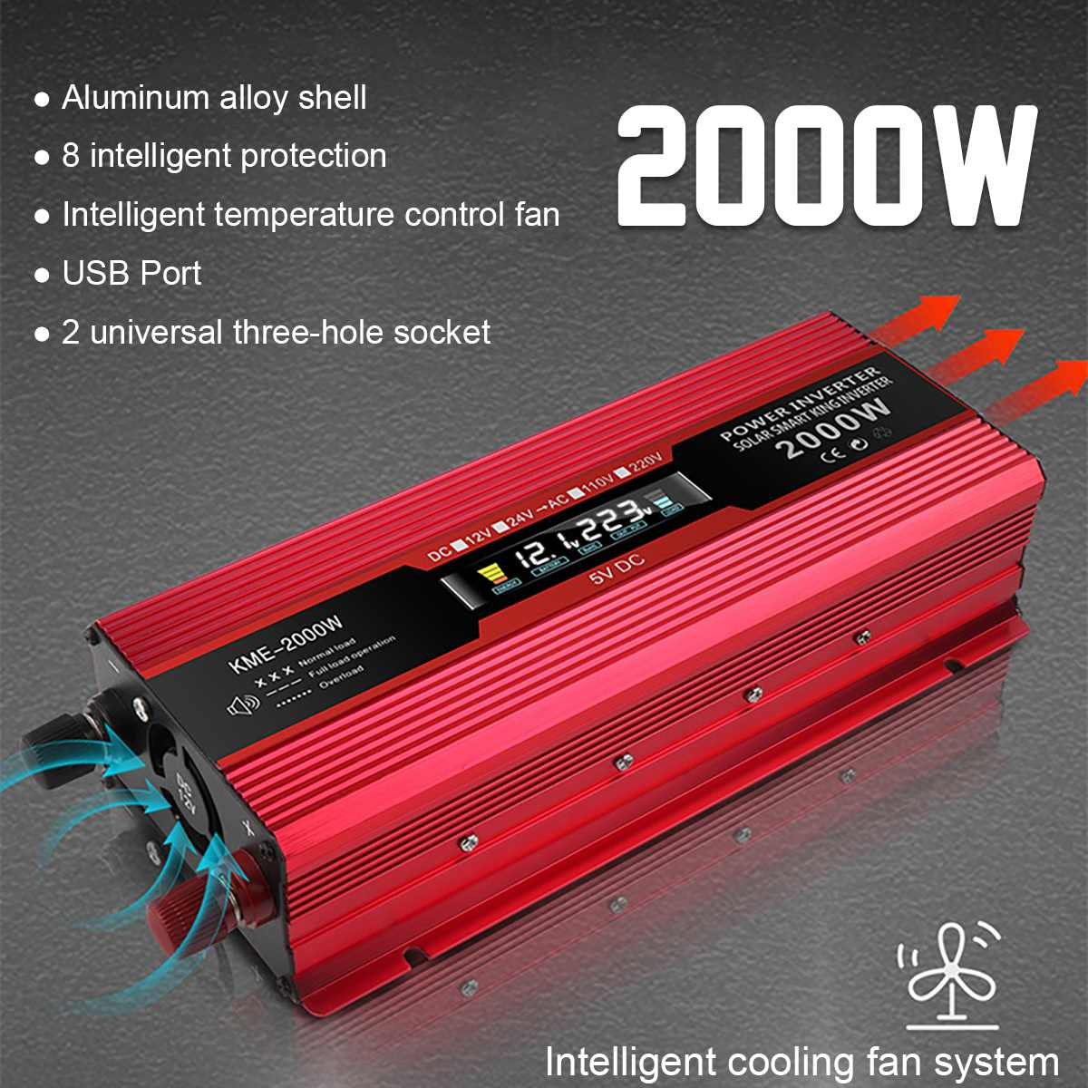 DC 24V to AC 220V Car 1000W Power Inverter Dual USB Converters Replacement