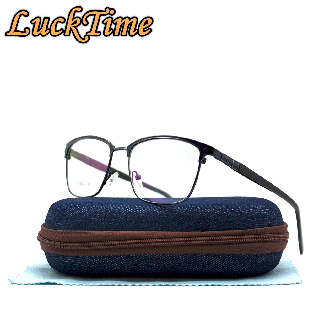 Metal Leather Retro Fashion Nearsighted Eyeglasses Case for Men and Women Dark Brown with Metal