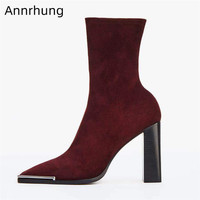 Winter Suede Ankle Boots Women Stretch Slim Booties Metal Decor Square Toe Block Heel Shoes Woman Patent Leather Boots Women