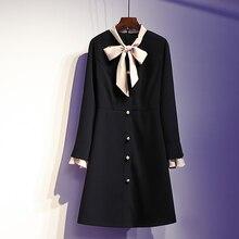L-4XL размера плюс женское элегантное платье трапециевидной формы осень модное повседневное женское платье с длинным рукавом и жемчужными пуговицами