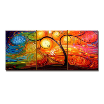 Handmade 3 Panels Abstract Tree Paintings on Canvas Large Modern 100% Hand Painted Wall Art for Living Room Bedroom