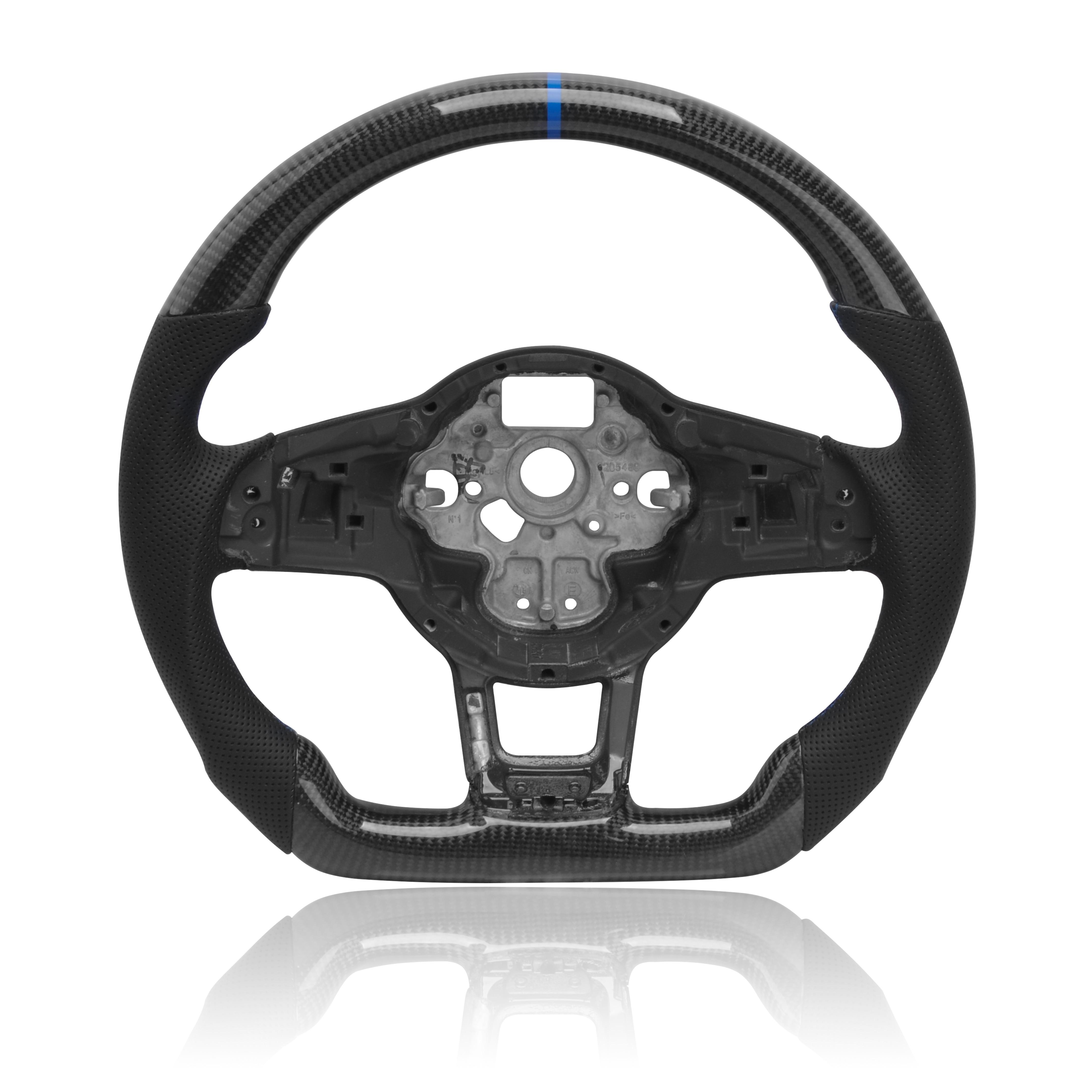 Рулевое колесо из углеродного волокна для MK7.5 GTI R для Volkswagen Golf MK7, заднее ПЕРФОРИРОВАННОЕ кожаное рулевое колесо в сборе