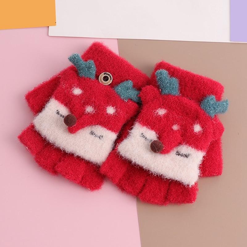 Зимние теплые детские перчатки с открытыми пальцами, детские вязаные перчатки с рисунком лося для мальчиков и девочек, перчатки с откидной крышкой, митенки Детские От 4 до 8 лет