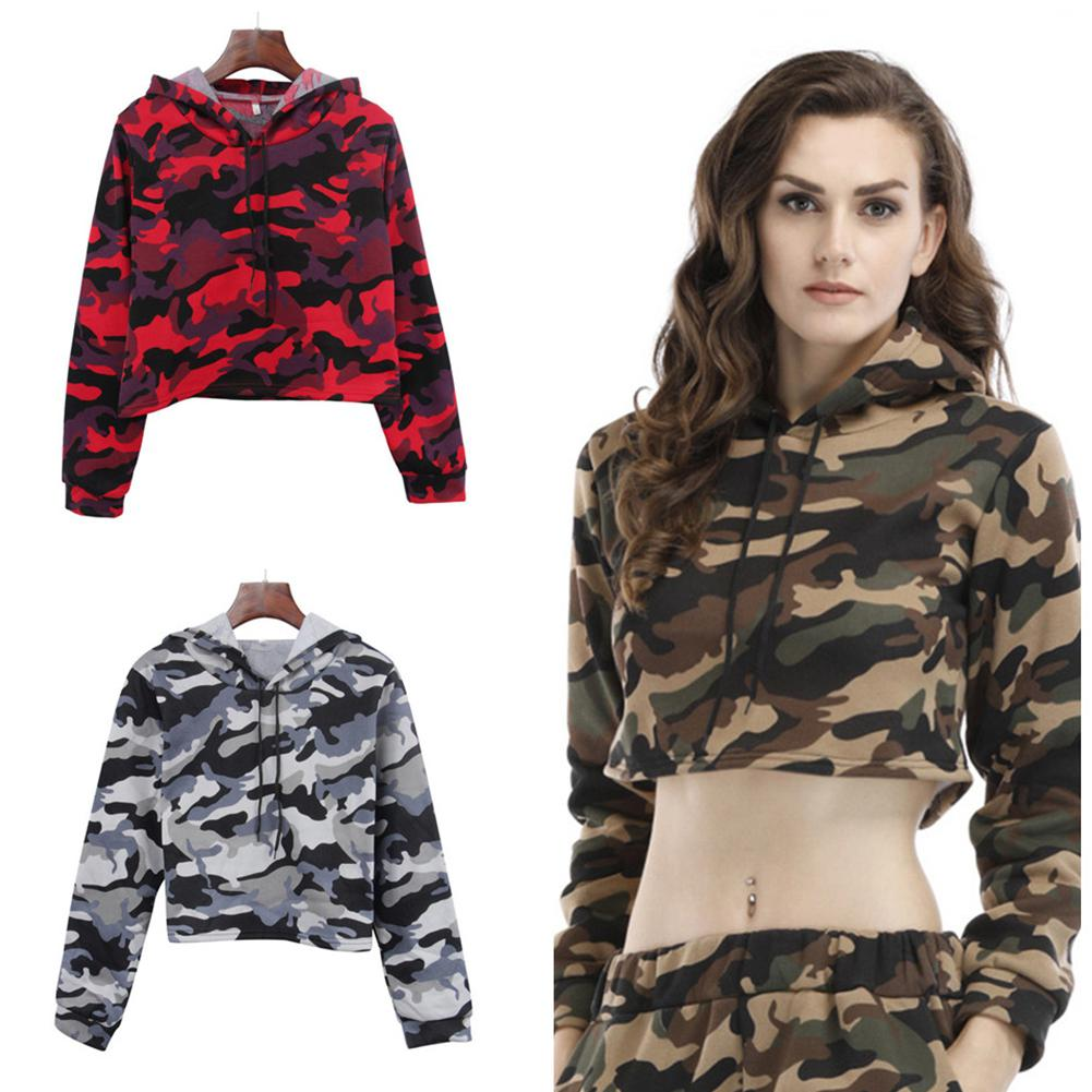 Women Casual Loose Camouflage Print Hooded Sweatshirt Lady Sexy Spring Autumn Crop Top Hooded Hoodie Military Sweatshirts