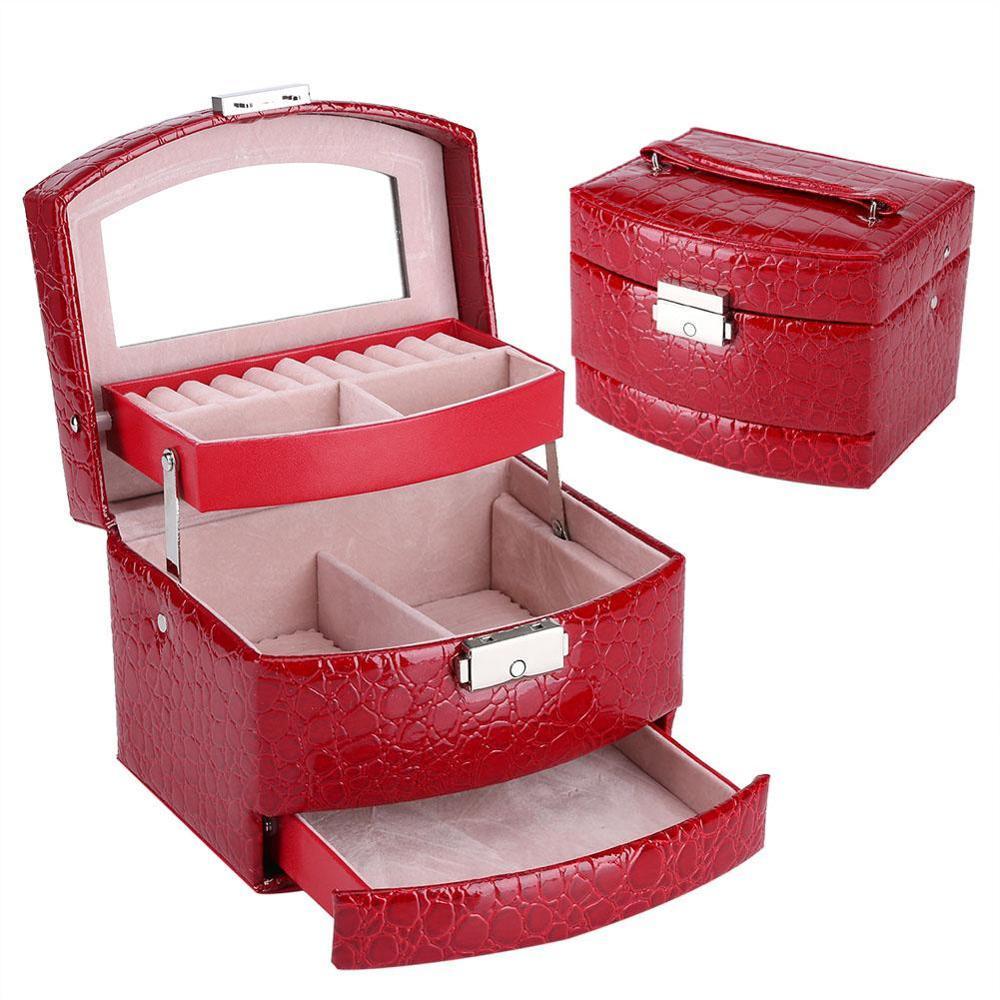 Автоматическая трехуровневая коробка для упаковки ювелирных изделий с ящиками, ожерелье, кольца, серьги, чехол для ювелирных изделий с замк...
