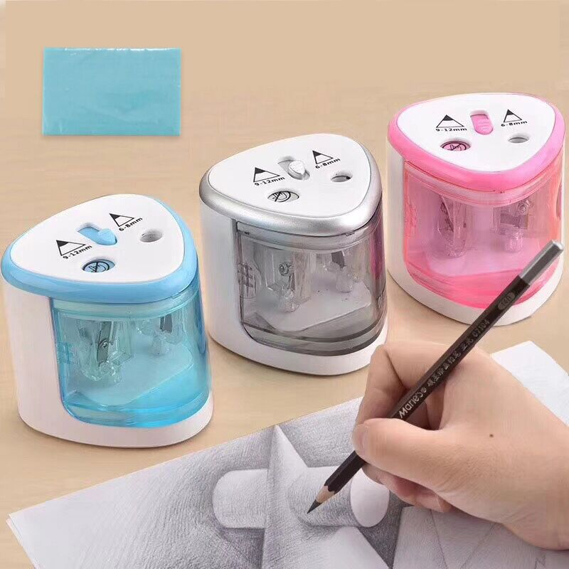 TENWIN 8004 Multi-function Double Hole Electric Pencil Sharpener Is Suitable For 6-12mm Diameter Pencil Pink/ Blue/Gray Color