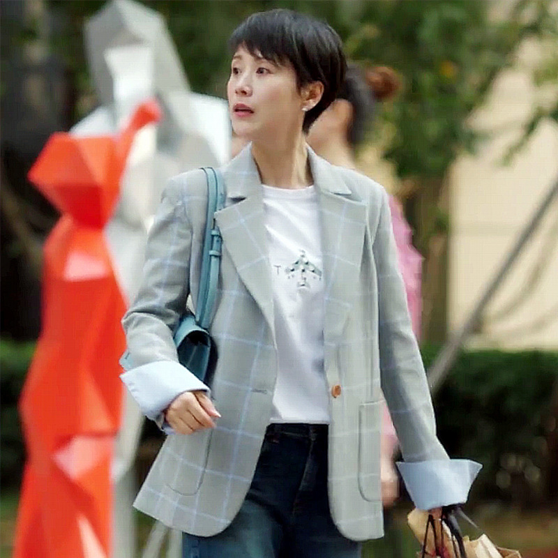 2019 New Star Same Small Suit Coat Korean Version Plaid Notched Women Jackets and Coats