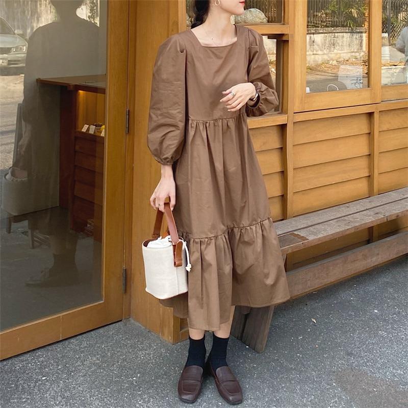 Haab868a3a5214abf91b6b3696c14f881e - Spring / Autumn Square Collar Long Lantern Sleeves Loose Solid Midi Dress