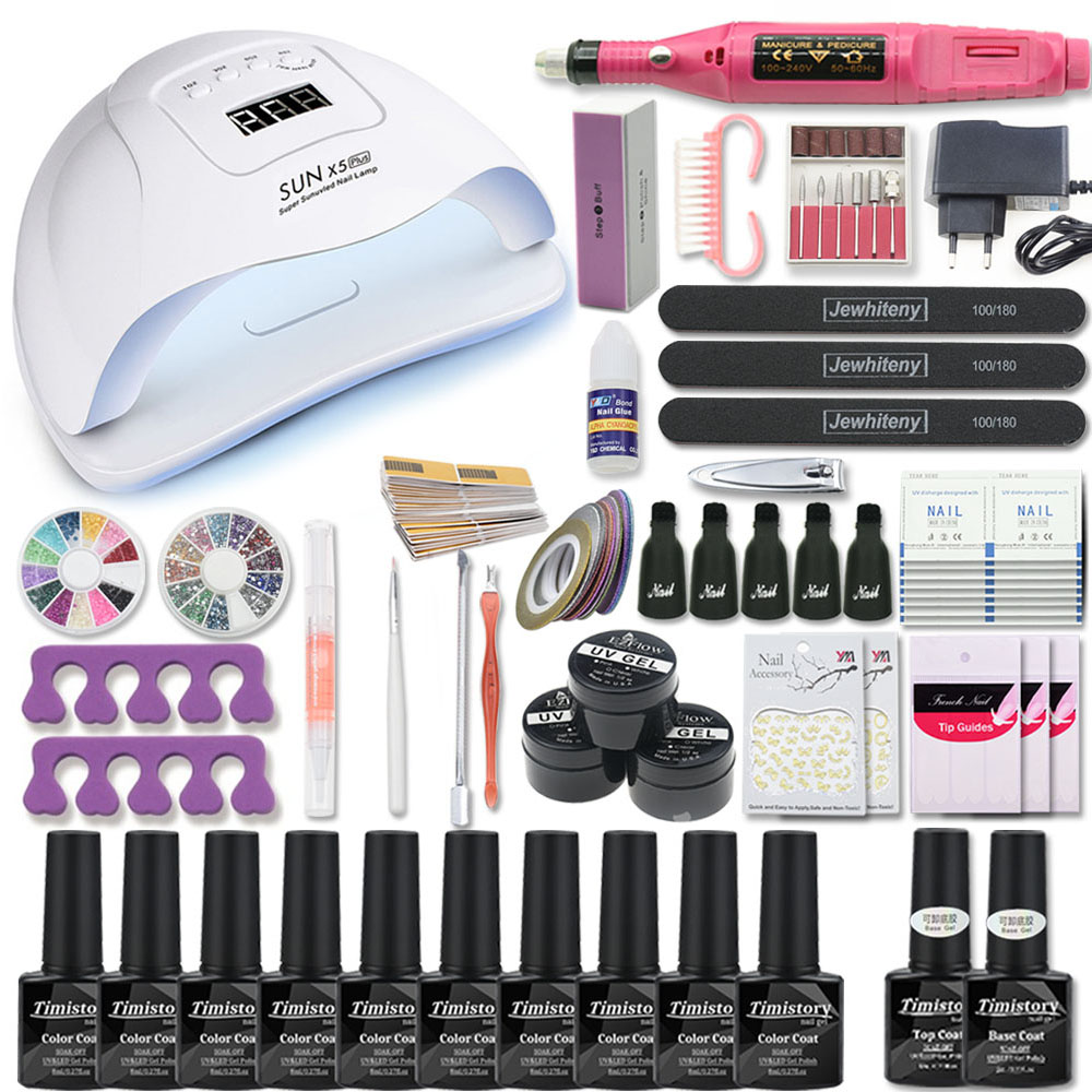 Manicure Set For Nail Kit 80W/54W/36W UV Lamp 10 Color Gel Varnish Set Nail Drill Machine Kit Nail File Tool  Nail Extension Set