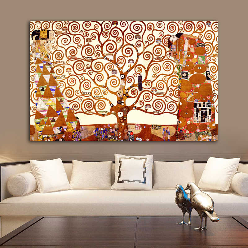 Hot sell Gustav Klimt Tree of Life Canvas Painting Wall Art Prints Posters Classical Abstract Painting on canvas For Living Room