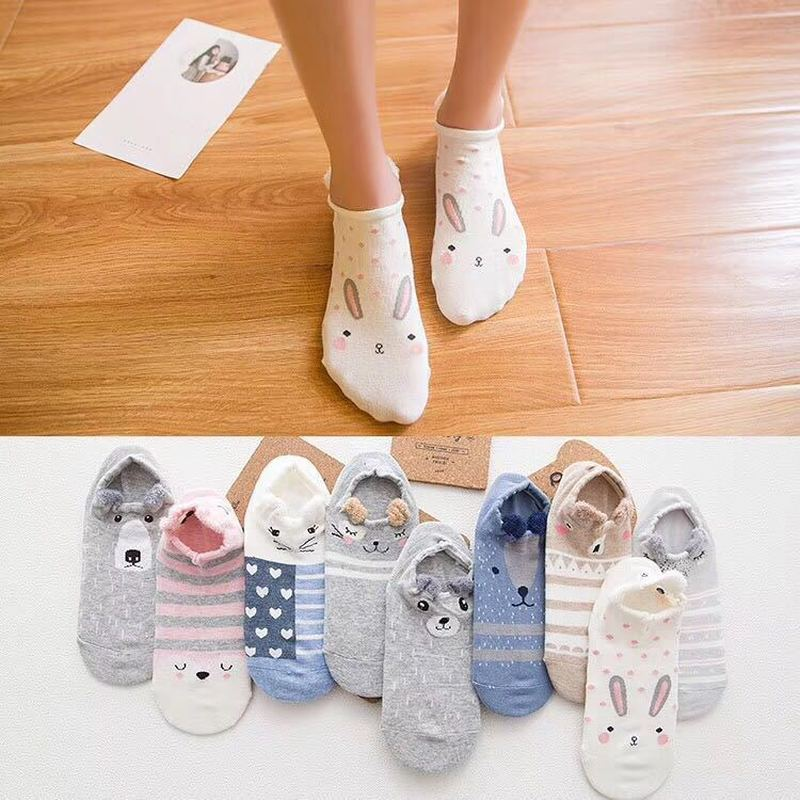 2pcs Women Ankle Socks Kawaii Winter Autumn Sock Cat Dog Rabbit Animal Printed Short Boat Socks Cute Cotton Japanese Sokken 35