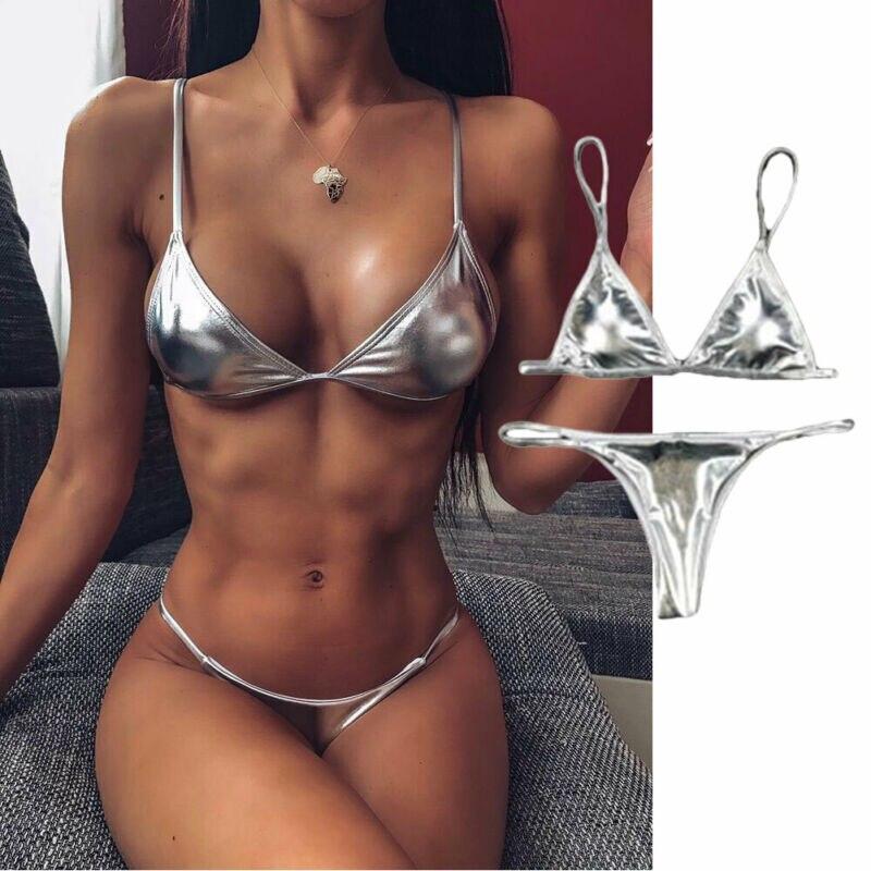 2020 Sexy Frauen String Micro Bikinis Brasilien Tanga Badeanzug Silber Strap Zwei Stück Swimwears Weiblichen Badeanzug Set Push Up Biquini