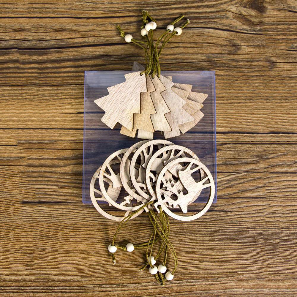 12 Pcs Felice Anno Nuovo Angelo in Legno Fiocco di Neve di Natale Pendenti con Gemme E Perle Del Mestiere di Natale Albero di Natale Decorazione per La Casa 2019 Navidad Ornamenti