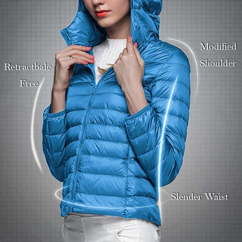 LOOZYKIT Unisex Ultra-thin Hooded สั้นเสื้อฤดูหนาวลงเสื้อแจ็คเก็ตขนาดใหญ่น้ำหนักเบาลงแจ็คเก็ตเยาวชน Slim Windproof Coats