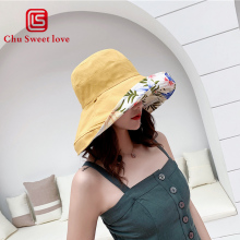 Summer Sun Hats Panama Foldable Bucket Hat Large Brim Beach Two Side Ladies Hoilday Cap Visors