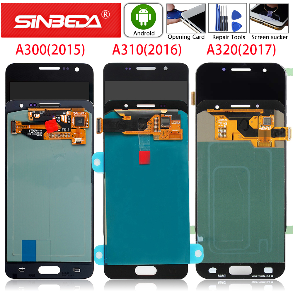 For Samsung Galaxy A3 2015 A300 LCD A3 2016 A310 Display A3 2017 <font><b>A320</b></font> Touch Screen Digitizer A300F A310F A320F LCD Super <font><b>AMOLED</b></font> image