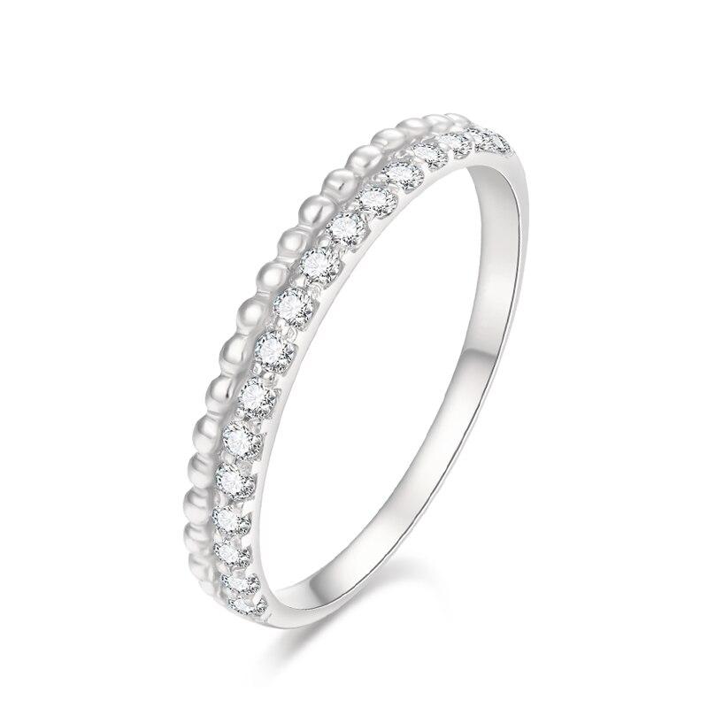 EDI 14k diamant mariage bande G/SI 0.5cttw réel diamant naturel Double bague de mariage perle ensemble pile anneau bijoux cadeau pour les femmes