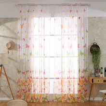 Butterfly Sheer Tulle Window Curtains for Living Room The Bedroom Kitchen Modern Printed Floral Tulle Curtains Window Blinds цена и фото