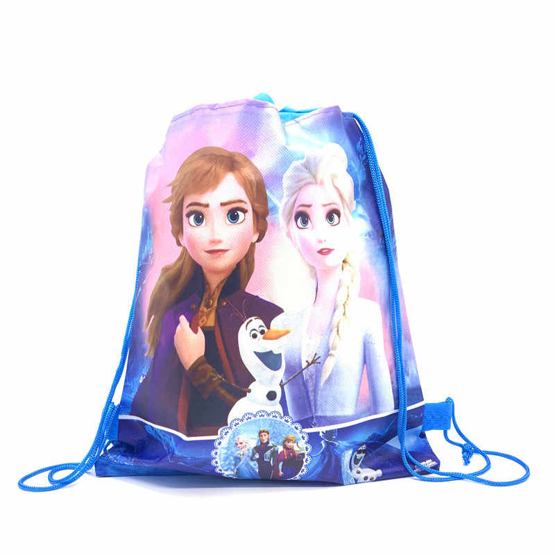 2019 The Newest Disney Anna Lisa Princess Theme Happy Birthday Kids Girl Drawstring Gifts Bag Non-Woven Fabric Party Decoration