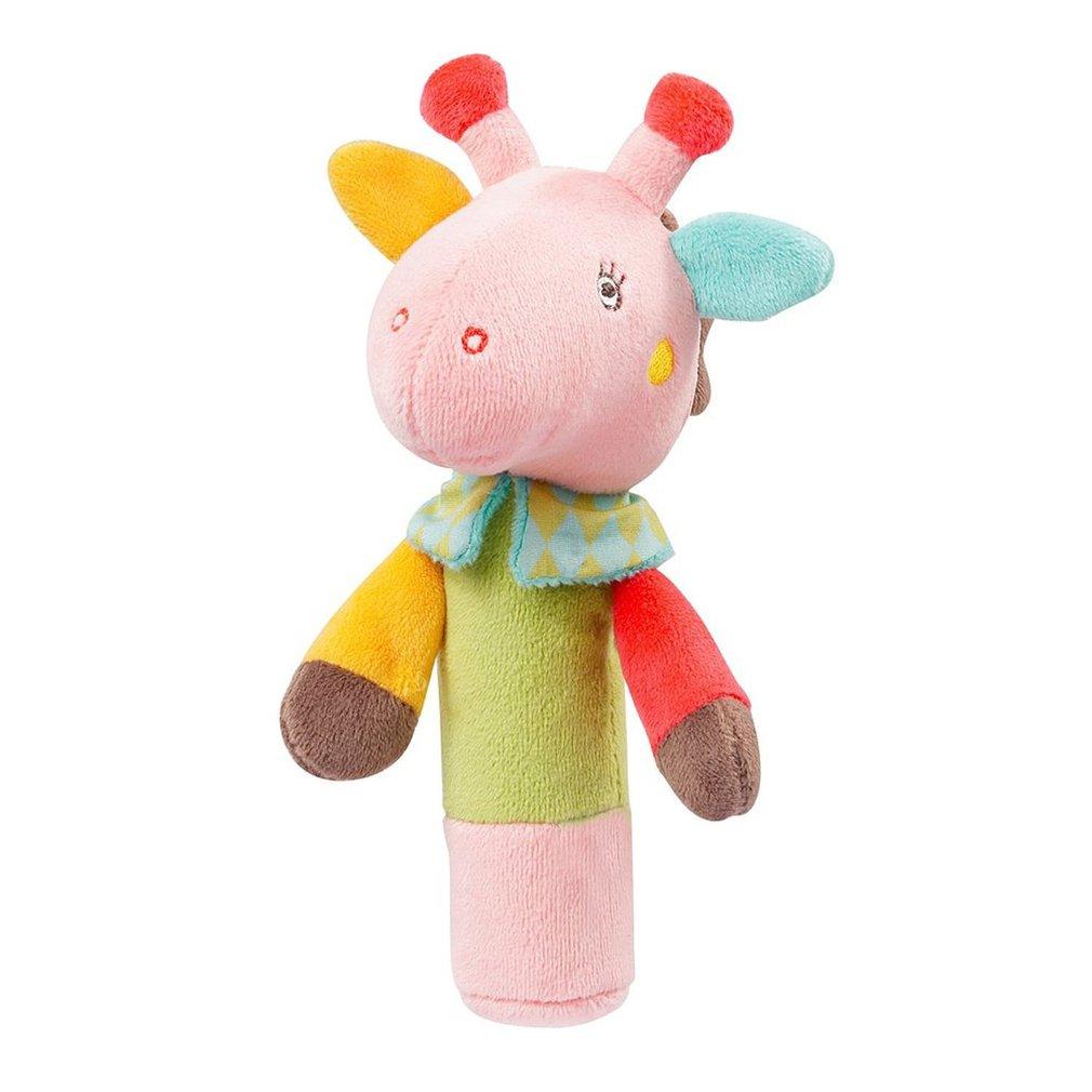 Creative Infant Baby Handbell Appease Hand Catching Animal BB Stick Hand Grasp Developmental Animal Stick Toy
