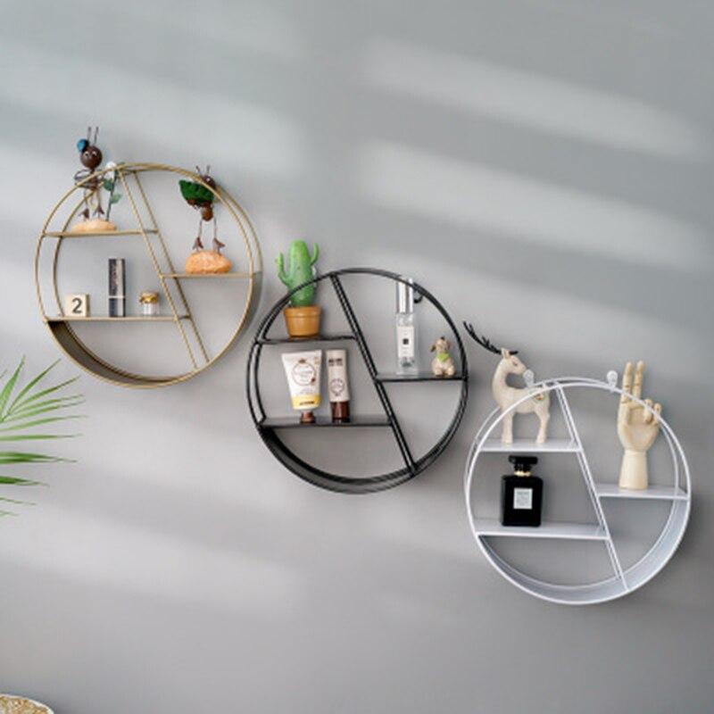 Estante colgante decorativo de Metal INS nórdico soporte de almacenamiento hexagonal redondo estantes decoración de la pared del hogar maceta con adornos estante de pie