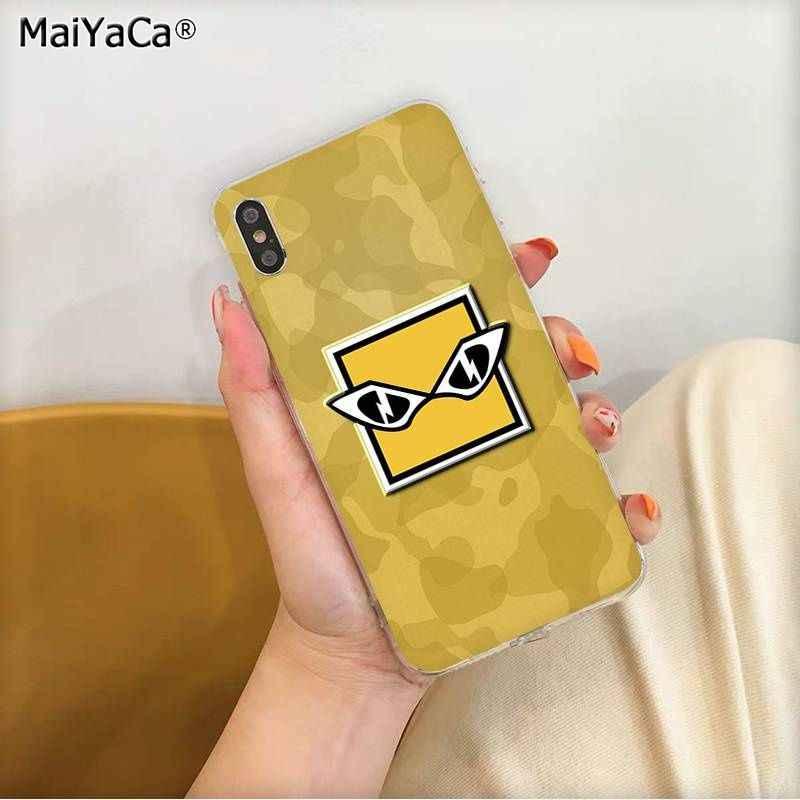 MaiYaCa الجيش كامو اللون التمويه قوس قزح ستة الحصار شعار TPU الهاتف حقيبة لهاتف أي فون 11 برو XS ماكس 8 7 6 6S زائد X 5 5S SE XR