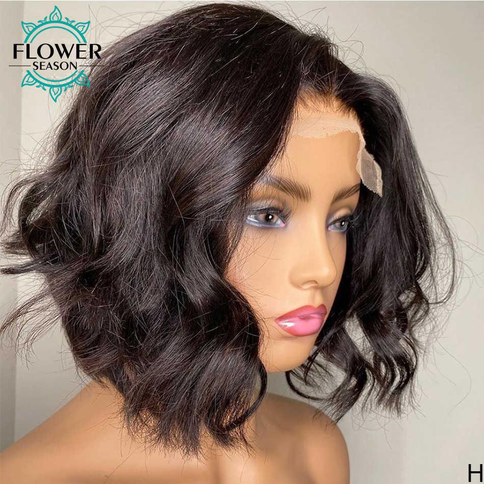 Natuurlijke Wave Menselijk Haar Pruiken Korte Bob Lace Front Pruik 13*6 Braziliaanse Remy Haar Voor Vrouwen 130-150% Preplucked Flowerseason