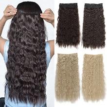 Длинные волнистые синтетические накладные волосы XINRAN с 5 зажимами, накладные пряди из высокотемпературного волокна, черные, коричневые шин...