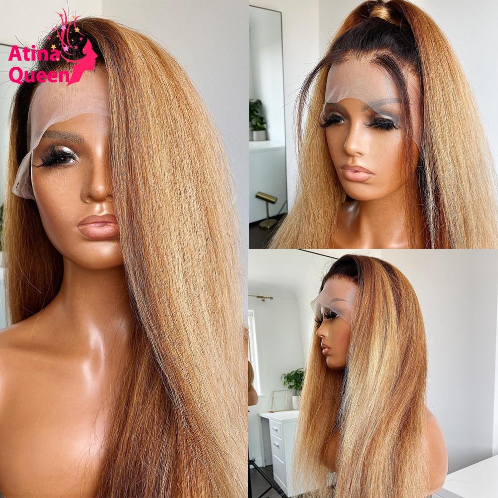 Yaki 1b 27 proste włosy ludzkie peruki kolorowe Ombre 13x4 miód blond koronki przodu peruki ciemne korzenie bielone węzłów 4x4 zamknięcie Remy