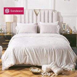 Sondeson 100% jedwab pocieszyciel wypełnienie naturalny jedwab kołdra żakardowe piękno zdrowe cały sezon królowa król dla snu